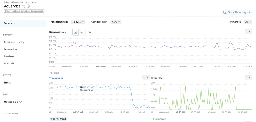 Screenshot showing OpenTelemetry data in the New Relic UI.