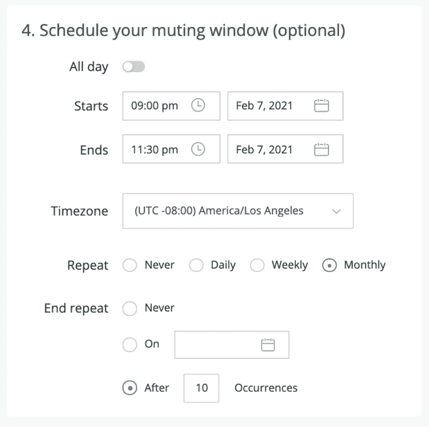 Recurring muting rules for alerts